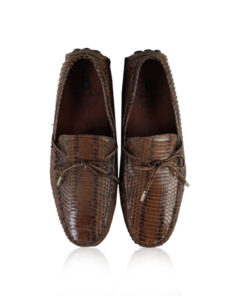 Cobra Belly Leather Moccasin Shoes, Matte Brown