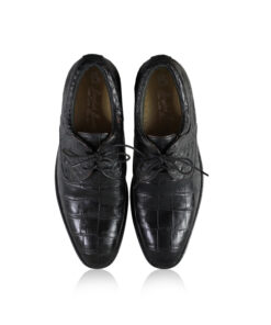 Crocodile Leather Dress Shoes, Matte Black