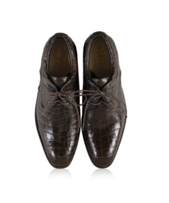 Crocodile Leather Dress Shoes, Matte Brown