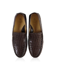 Crocodile Leather Moccasin Shoes, Matte Brown