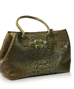 DOCTOR Crocodile Hornback Leather Shoulder Bag, Brown, Size 60 cm