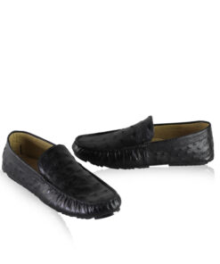 Ostrich Leather Moccasin Shoes, Black