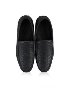Python Leather Moccasin Shoes, Black