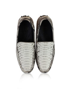 Python Leather Moccasin Shoes, Natural