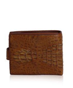 Crocodile Hornback Leather Wallet, Brown