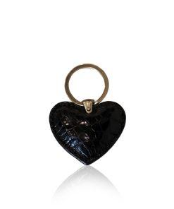 Key Chain Crocodile Belly Leather, Shiny Black