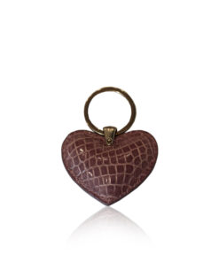 Key Chain Crocodile Belly Leather, Shiny Dark Purple