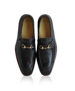 Lizard Leather Horsebit Loafer Shoes, Black