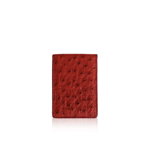 Ostrich Leather Vertical Card Holder, Red