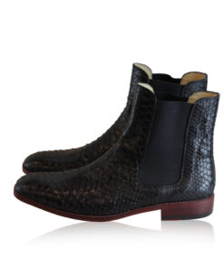 Python Belly Leather Chelsea Boot, Black