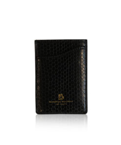 Sea Snake Leather Vertical Card Holder, Black