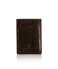 Sea Snake Leather Vertical Card Holder, Brown
