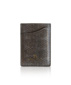 Sea Snake Leather Vertical Card Holder, Grey & Black
