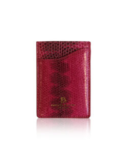 Sea Snake Leather Vertical Card Holder, Pink & Black