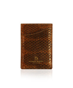 Sea Snake Leather Vertical Card Holder, Tan & Black