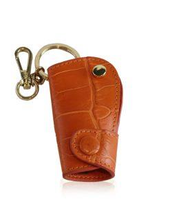 Car Key Chain Crocodile Belly Leather, Tan
