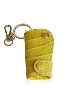 Car Key Chain Crocodile Belly Leather, Yellow