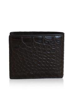 Crocodile Belly Leather Wallet, Matte Black