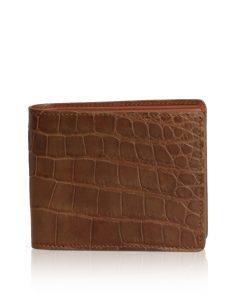 Crocodile Belly Leather Wallet, Matte Tan