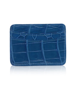 Crocodile Leather Cardholder, Shiny Blue