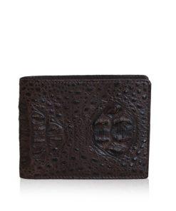 Crocodile Hornback Leather Wallet, Dark Brown
