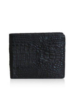 Crocodile Hornback Leather Wallet, Matte Black