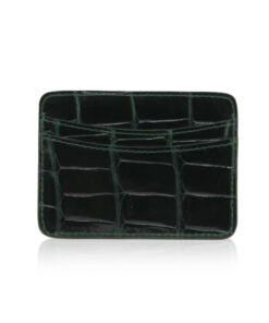 Crocodile Leather Cardholder, Shiny Dark Green