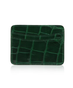 Crocodile Leather Cardholder, Shiny Green