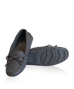 Lamb Leather Fringe Ribbon Casual Shoes, Grey