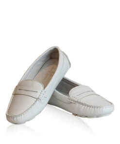 Lamb Leather Loafer Shoes, White