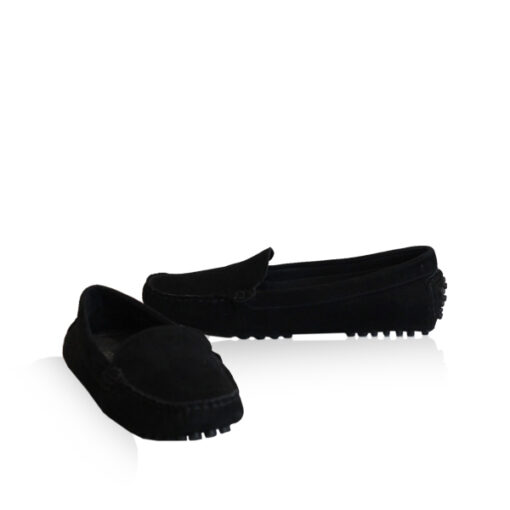 Lamb Suede Leather Casual Women Shoes, Black