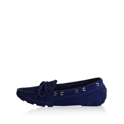 Lamb Suede Leather Fringe Ribbon Casual Shoes, Blue