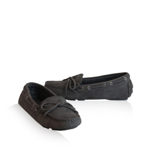 Lamb Suede Leather Fringe Ribbon Casual Shoes, Light Grey