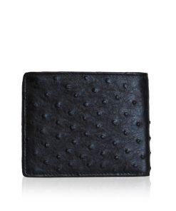 Ostrich Leather Wallet, Black