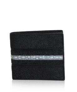 Stingray Spot Leather Wallet, Black