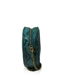CIRCLE BAG Matte Turquoise & Black Python Back Leather Size 19