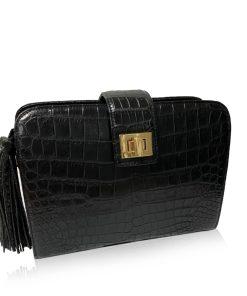 MILDY Matte Black Crocodile Belly Sling Bag Size 25