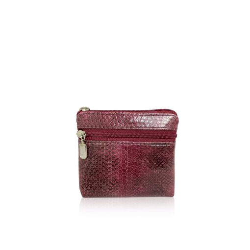 Sea Snake Leather Burgundy And Black Zipper Coin Purse
