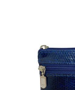 Sea Snake Leather Navy Blue Zipper Coin Purse