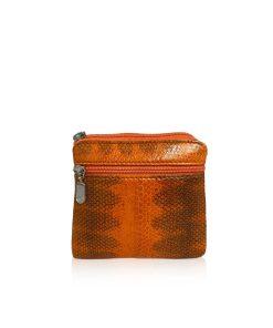 Sea Snake Leather Orange And Black Zipper Coin Purse