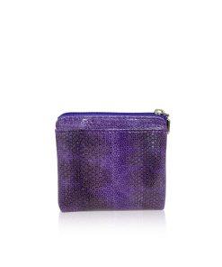 Sea Snake Leather Purple And Black Zipper Coin Purse