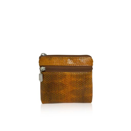 Sea Snake Leather Tan And Black Zipper Coin Purse