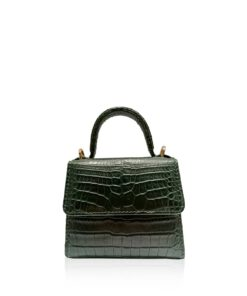 BABY GOLDMAS Dark Green Crocodile Belly Sling Bag Size 12 cm