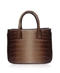 CADDY Crocodile Belly Leather Handbag Matte Brown 2 Tone Size 25