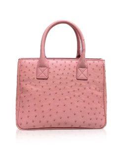 CADDY Ostrich Leather Handbag Light Pink Size 25