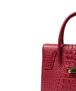 Cosmos Red Crocodile Hornbark Handbag Size 25