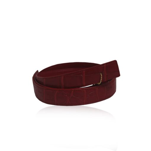Crocodile Belly Leather Red Belt Size 3