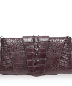 FAIRY SQUARE Brown Crocodile Tail Leather Clutch Bag Size 28