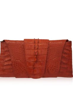 FAIRY SQUARE Red Crocodile Tail Leather Clutch Bag Size 28