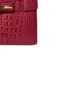 HEIDI Matte Red Crocodile Hornbark Handbag Size 26